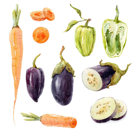Watercolor vegetable set
