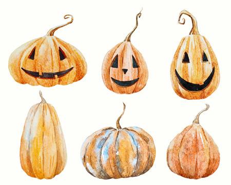 Halloween pumpkin set Stock Photo