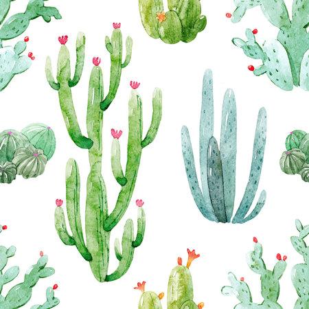 Watercolor cactus vector pattern