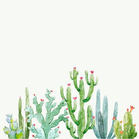 Watercolor cactus vector composition