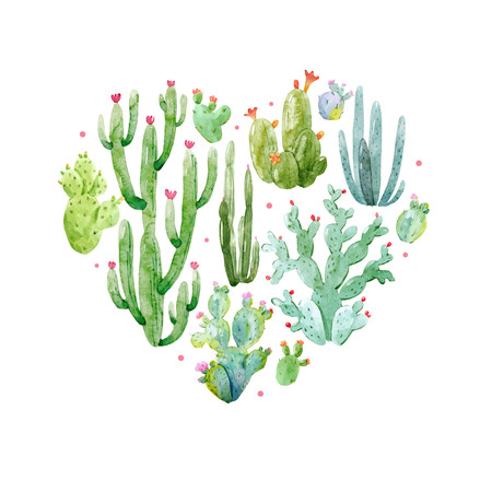 Watercolor cactus heart vector composition