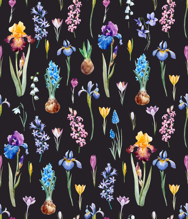 Beautiful vector seamless pattern with watercolor hand drawn spring crocuses hyacinths irises flowers.