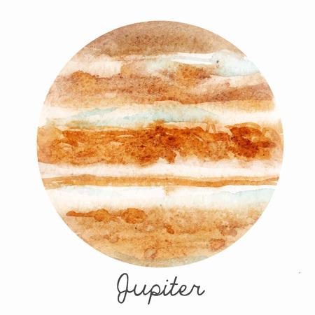 Watercolor Jupiter planet vector illustration Vettoriali