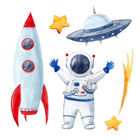 Watercolor baby space vector set Иллюстрация