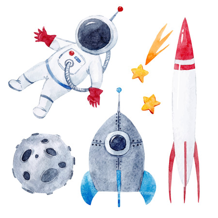Watercolor baby space vector set Stock Illustratie