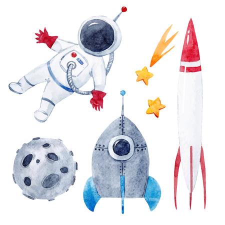 Watercolor baby space vector set Vectores