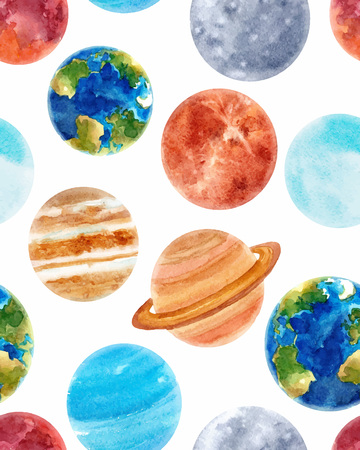 Watercolor space baby vector pattern