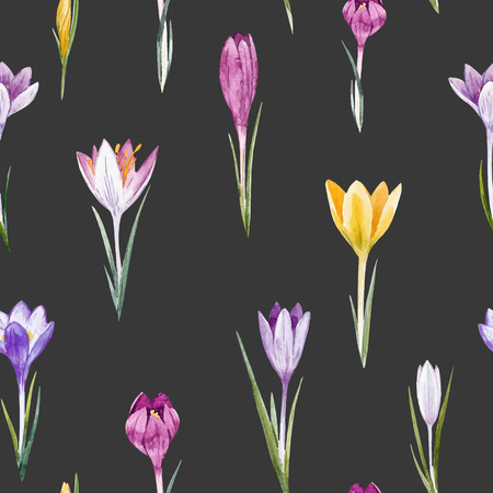 Watercolor crocus floral vector pattern Иллюстрация