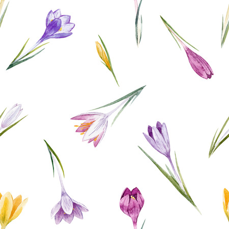 Watercolor crocus floral vector pattern Ilustracja