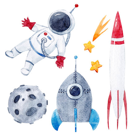 Watercolor baby space set