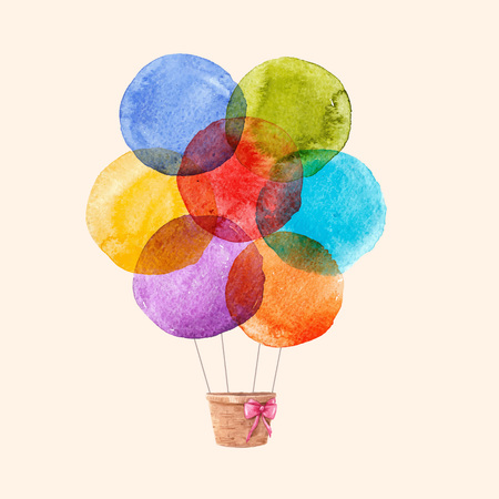Beautiful vector illustration with hand drawn watercolor rainbow colourful air baloons