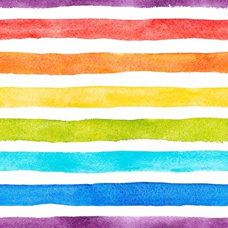 Watercolor rainbow stripes vector pattern