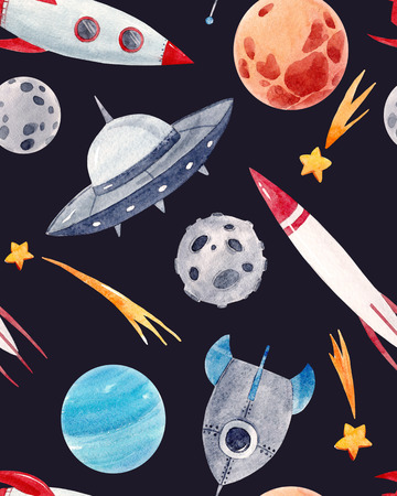 Watercolor space baby pattern