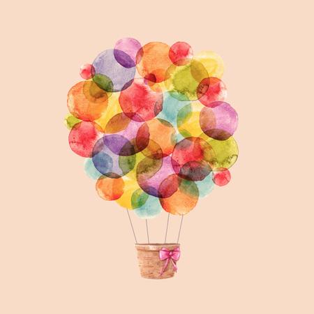 Watercolor rainbow vector air balloons