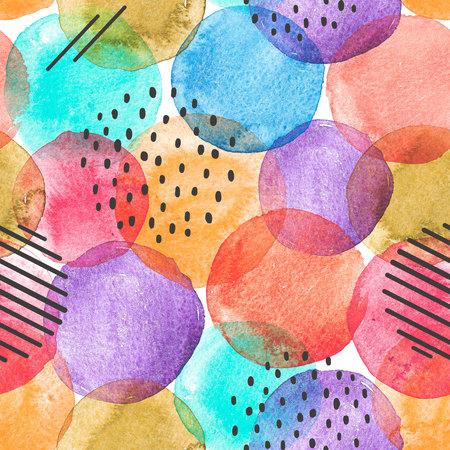 Aquarel regenboog vlekken patroon Stockfoto