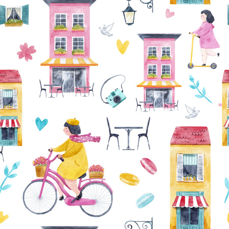 Watercolor building and children vector pattern