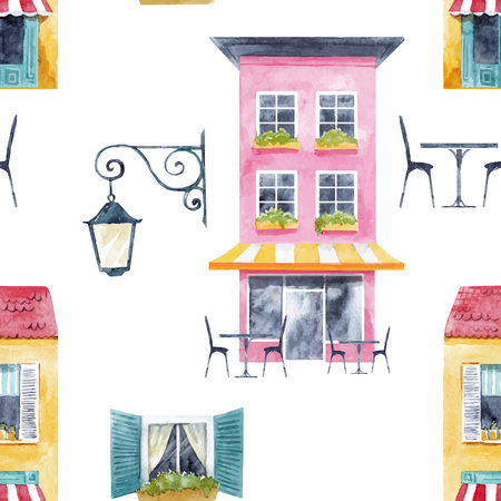 Watercolor building  vector pattern Banque d'images - 97636831