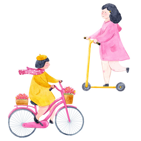 Watercolor girls riding a bike and foot trolley vector illustration Stock Illustratie