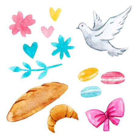 Watercolor illustrations vector set