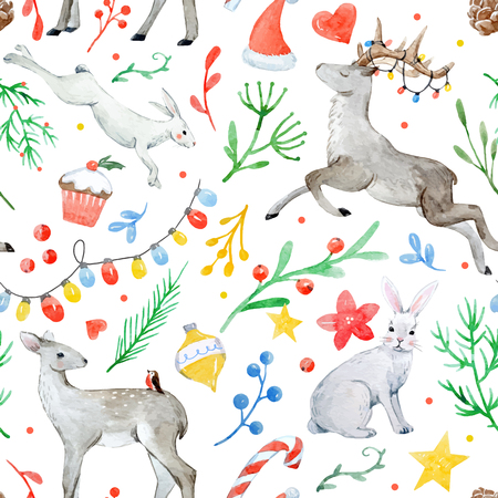 Watercolor christmas vector pattern