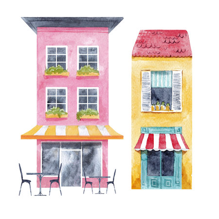 Watercolor houses set Banco de Imagens