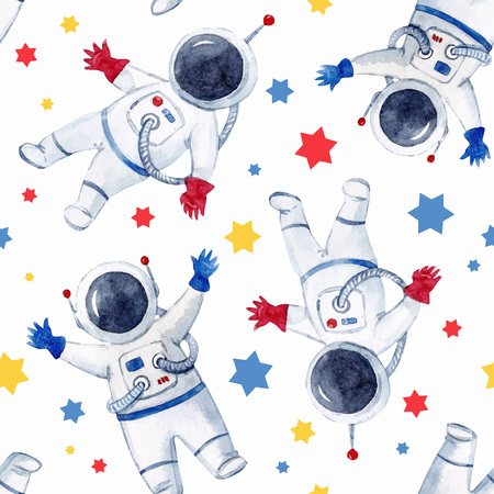 Watercolor astronaut pattern with stars.