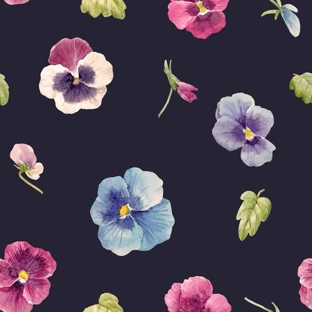 Watercolor pansy flower vector pattern Ilustracja