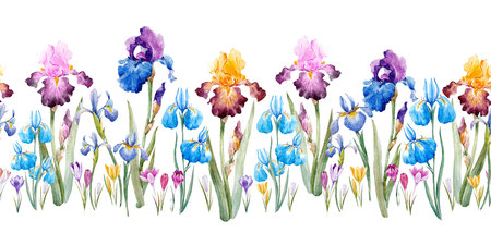 水彩花柄 写真素材