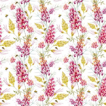 Watercolor australian grevillea pattern 版權商用圖片