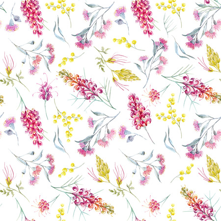 Watercolor australian grevillea pattern Stock fotó