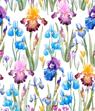 Beautiful vector seamless pattern with watercolor hand drawn hyacinths irises flowers