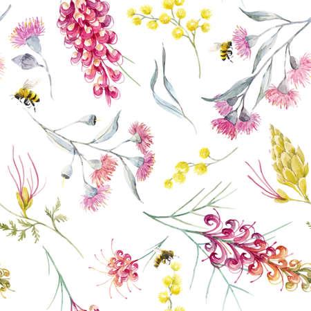 Watercolor australian grevillea vector pattern Vettoriali