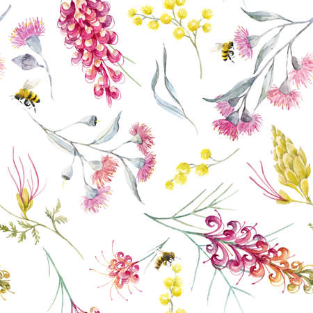 Watercolor australian grevillea vector pattern Çizim