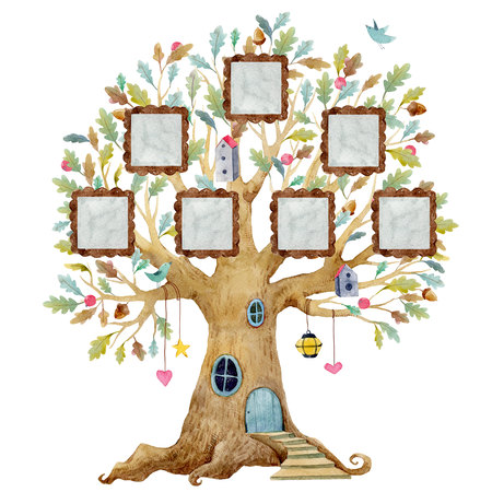 Watercolor tree house with frames