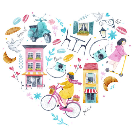 Watercolor Paris heart