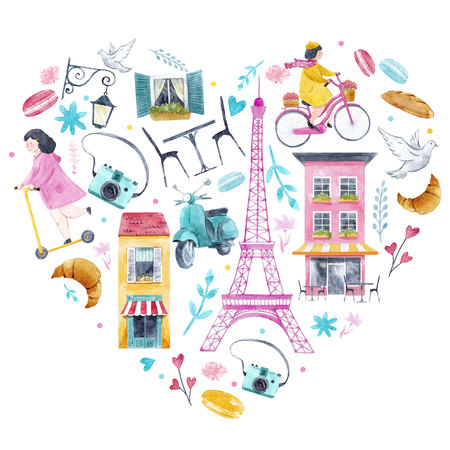 Watercolor Paris heart Stock Photo - 98675158