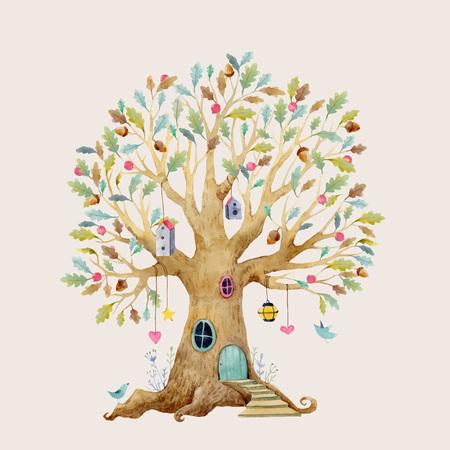 赤ちゃんのための森の木の家と美しいベクトルのイラスト  イラスト・ベクター素材