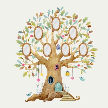 Bella illustrazione vettoriale con casa sull'albero foresta per bambini con cornici per la famiglia