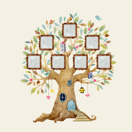 Beautiful vector illustration with forest tree house for babies with frames for family Çizim