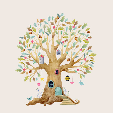 Watercolor tree house Vector illustration.