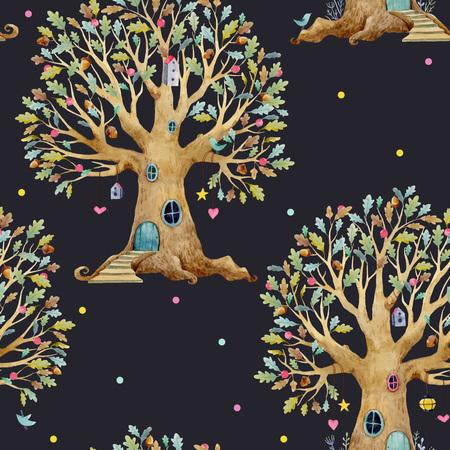Watercolor tree house vector pattern isolated on dark background. Stock Illustratie