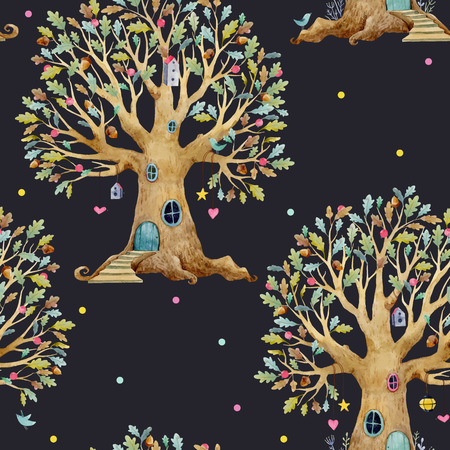 Watercolor tree house vector pattern isolated on dark background. Vettoriali
