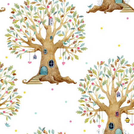 Watercolor tree house vector pattern isolated on white background. Foto de archivo - 99190022