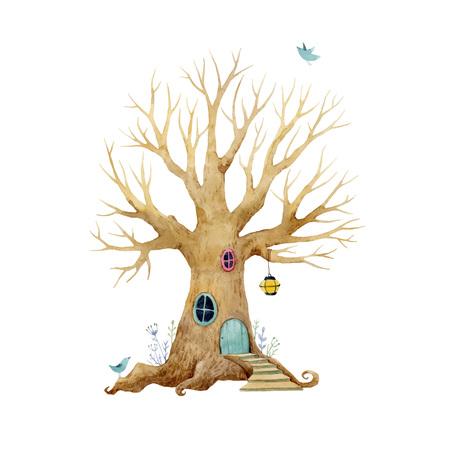 Watercolor vector tree house. Foto de archivo - 98926687