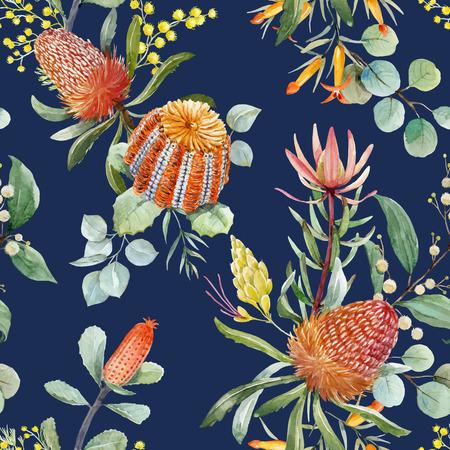 Watercolor australian banksia vector pattern Ilustração