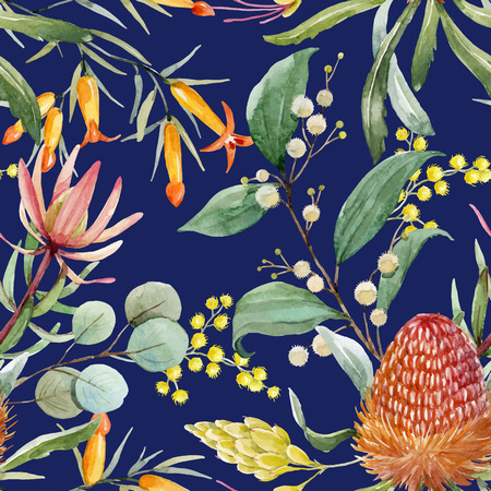Watercolor australian banksia vector pattern  イラスト・ベクター素材