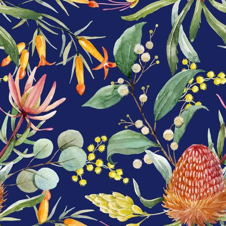 Watercolor australian banksia vector pattern Stock Illustratie