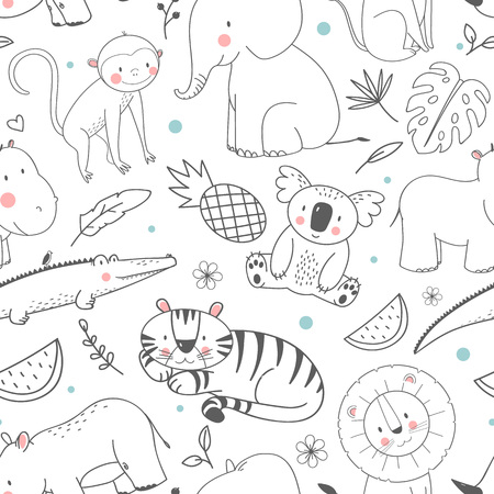 Safari animals vector pattern on white background.