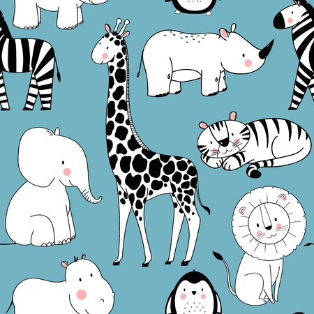 Safari animals vector pattern on blue background.  イラスト・ベクター素材