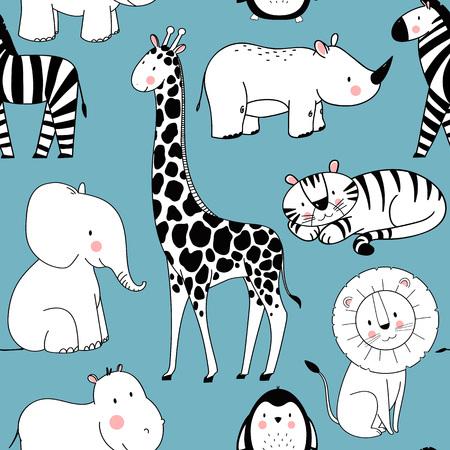 Safari animals vector pattern on blue background. Illustration